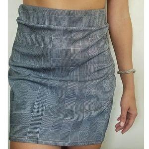 Missguided Gray Plaid Mini Skirt